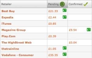 Cashback Sites Screenshot Update