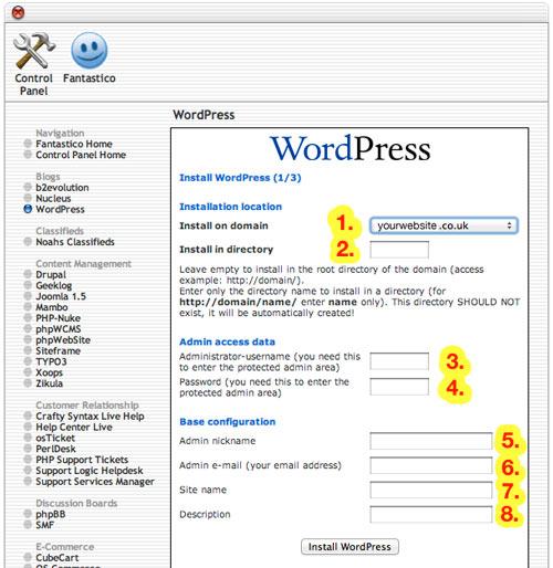 Wordpress installation details