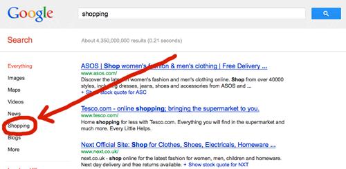Google shopping tool
