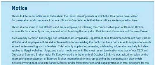 Banner Broker India Closes