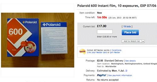 Example of Polaroid Film Prices