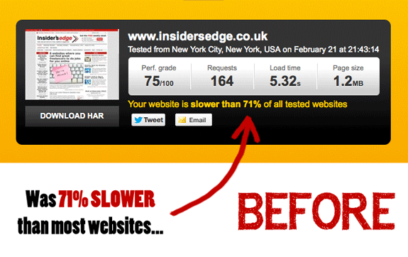 Page Load Speed Previously
