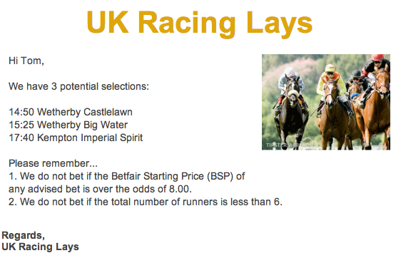 UK Racing Lays Email
