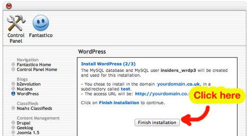 install WordPress screen