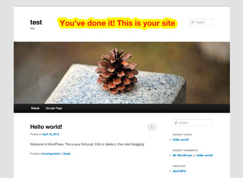 example of how your site will look